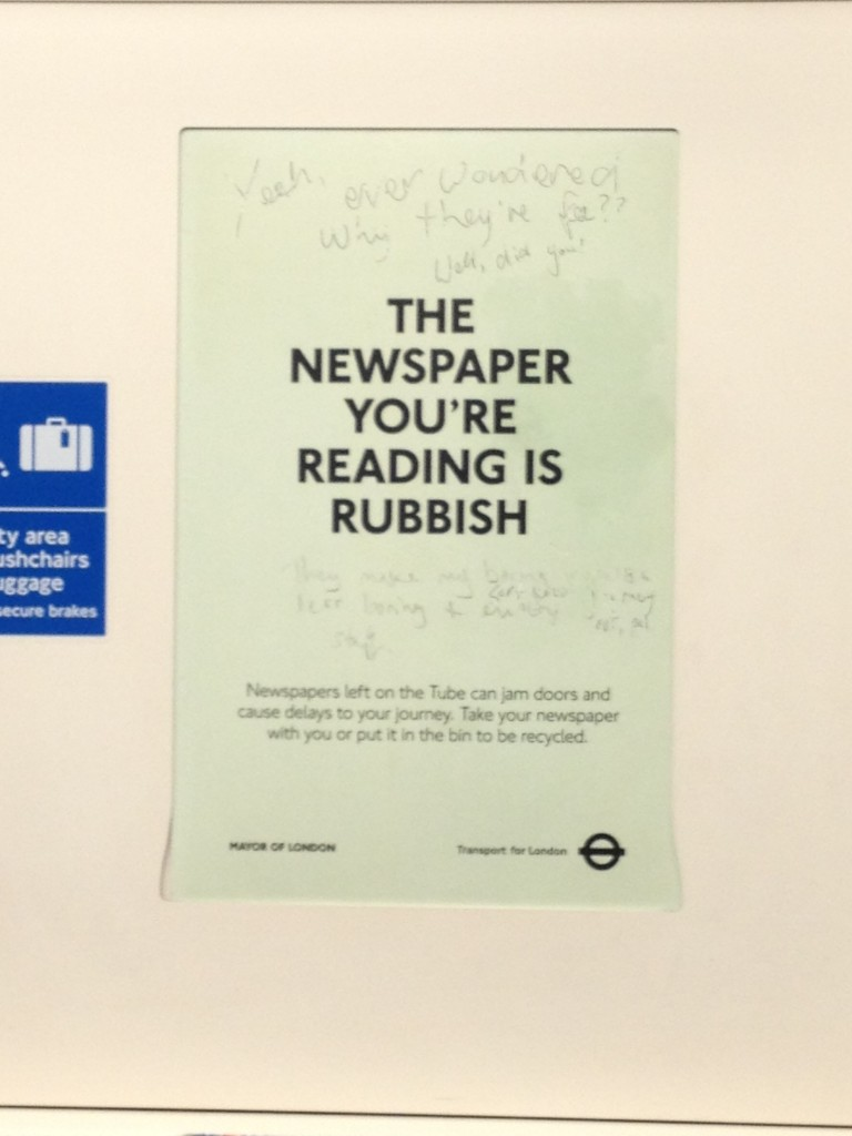 Newspaper recycling ad, Transpot for London, Tube, by Aaron Lee (Jan 2013)